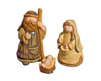 Cute Ceramic Nativity Scene. Isolated on a white background Stock Image