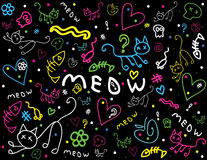 Cute chalkboard style doodles Stock Images