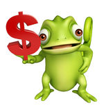 Cute Chameleon cartoon character with doller sign Stock Image
