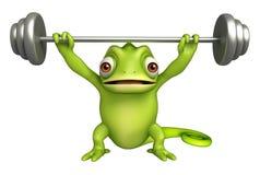 Cute Chameleon cartoon character  gim equipment Stock Images
