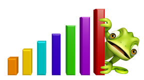 Cute Chameleon cartoon character with graph Royalty Free Stock Photo