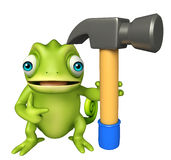 Cute Chameleon cartoon character with hammer Royalty Free Stock Images