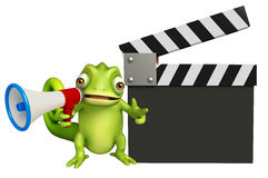 Cute Chameleon cartoon character with  loudspeaker and clapper  Stock Photos