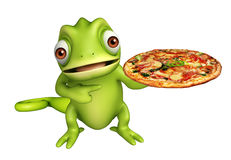 Cute Chameleon cartoon character with pizza Stock Photo