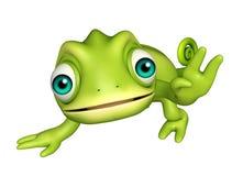 Cute Chameleon funny cartoon character Stock Photos