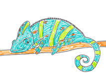Cute chameleon on tree branch. Hand drawing illustration Royalty Free Stock Photo