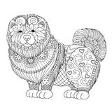 Cute Chao Chao dog for design element and coloring book page for adult. Vector illustration