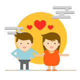 Cute character abstract happy people couple and family for love Royalty Free Stock Photos
