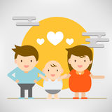 Cute character abstract happy people couple and family for love Stock Images