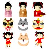 Cute Character Asian Culture Vector Illustration Graphic. Design Stock Images