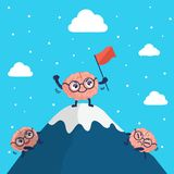 Cute character brain climbs to the top of the mountain royalty free illustration