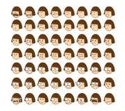 Cute character cartoon emotion girl face stock illustration