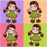 Cute character cartoon girl seamless Stock Photo