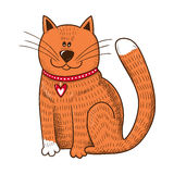 Cute character. Cat with heart on collar. Stock Image