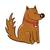 Cute character. Dog with heart on collar. Royalty Free Stock Images