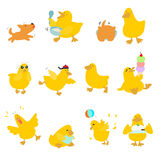 Cute character duck variety action pack  Royalty Free Stock Photo
