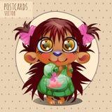 Cute character hedgehog girl, series cartoon Royalty Free Stock Image