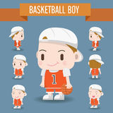 Cute Character illustration of a Basketball Boy. Royalty Free Stock Photo