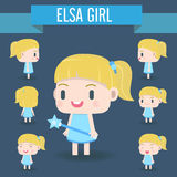 Cute Character illustration of girl. stock photo