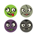 Cute character monster set. Cute illustration of several monster face, consist of zombie, Frankenstein, witch and vampire stock illustration