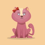 Cute character pink kitty with bow icon Royalty Free Stock Photography