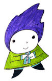 Cute Character with Purple Blue Hair Stock Photo