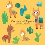 Cute character set of cactus and alpaca stock illustration