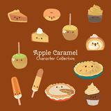 Cute character set of food royalty free illustration