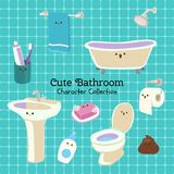 Cute character set of things in the bathroom vector illustration