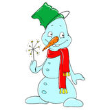 Cute character snowman with a bucket on his head. Cartoon snowman with a sparkler. Vector Royalty Free Stock Image