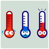 Cute character thermometers Stock Photos