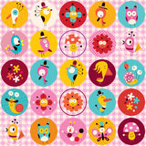 Cute characters animals flowers circles nature pattern Stock Image