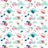 Cute characters flying heart balloons seamless pattern Happy Valentine`s Day Royalty Free Stock Photo