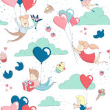 Cute characters flying heart balloons seamless pattern Happy Valentine`s Day Royalty Free Stock Photos