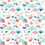 Cute characters flying heart balloons seamless pattern Happy Valentine`s Day Stock Photos