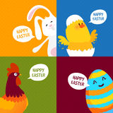 Cute characters for Happy Easter celebration. Stock Photos