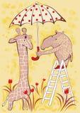 Cute characters having fun. Cute giraffe and tapir with a dotted umbrella Stock Photo