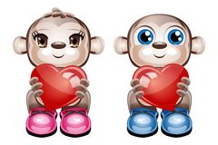 Cute Characters Holding Hearts. Vector illustration of 2 cute character animals holding a heart on a white background Royalty Free Stock Photo