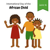 Cute characters for International Day of the African Child on 16 June. For your decoration stock illustration