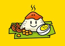 Cute characters of Nasi Lemak rice. Nasi Lemak. Traditional malay food. Cute characters of Nasi Lemak rice with boiled egg, peanuts, banana leaf. Spicy Sambal on stock illustration