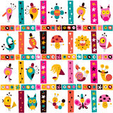 Cute characters nature pattern Stock Photo