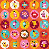 Cute characters nature pattern Stock Photography
