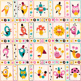 Cute characters nature pattern Royalty Free Stock Photo