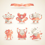 Cute characters robot set origami by triangles polygon  Stock Photography