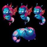 Cute characters unusual blue seahorses Stock Image