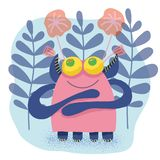 Cute charming adorable baby monster on a background of flowers and leaves, children`s themes, print for textiles, for factory royalty free illustration