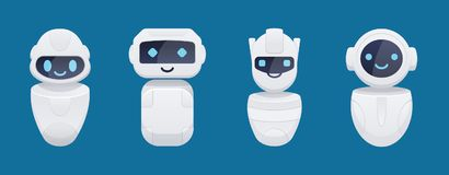 Cute chat bot characters set. Isolated vector illustration Royalty Free Stock Images