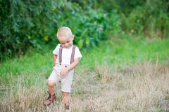 A cute cheeky small toddler boy in sunny summer nature. Copy space. A cute cheeky small toddler boy standing in sunny summer nature. Copy space stock photography