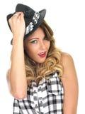 Cute Cheeky Woman Wearing Tilbury Hat Stock Photos