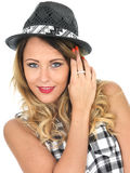 Cute Cheeky Woman Wearing Tilbury Hat Royalty Free Stock Photos